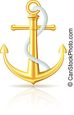 Gold anchor with rope on white background Vector...