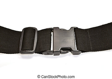 black plastic buckle on strap isolated on white