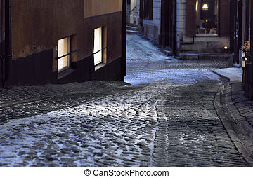 Narrow street in Stockholm - Narrow street with cobble...