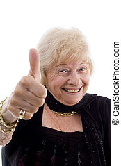 happy old woman showing thumb up on an isolated background