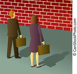 Business People Brick Wall - Two business people stopped by...