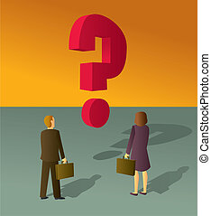 Business Question - A business man and woman staring at a...