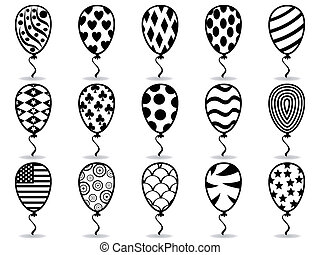 black pattern balloon icons - isolated black pattern balloon...