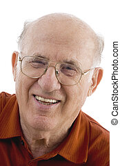 close up of smiling old man with white background