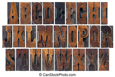 antique wood type alphabet - alphabet in vintage letterpress...