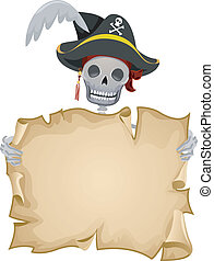 Pirate Scroll Frame - Frame Illustration Featuring a Pirate...