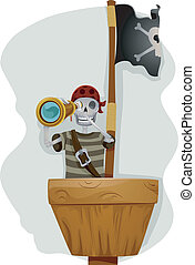 Pirate Telescope - Illustration of a Pirate Standing in the...