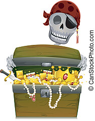 Pirate Treasure Chest - Illustration of a Pirate Skeleton...