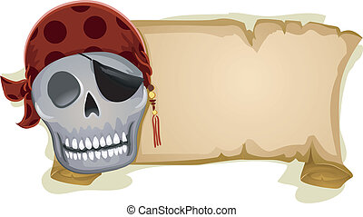 Pirate Banner - Illustration of a Pirate Skull Standing...