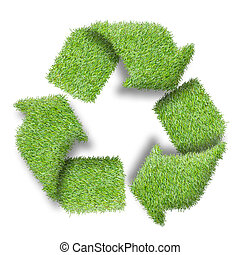 reciclar, logotipo, símbolo, verde, pasto o...