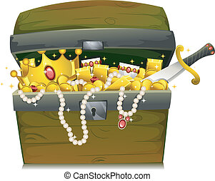 Treasure Chest - Illustration of a Treasure Chest Filled...