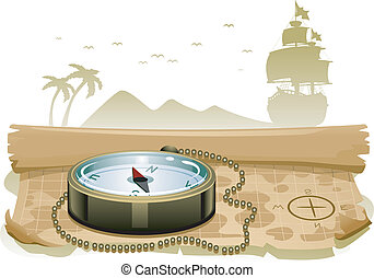 Treasure Map Compass - Illustration of a Compass Sitting on...