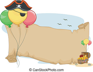 Pirate Party Scroll - Illustration of a Pirate Party Scroll...