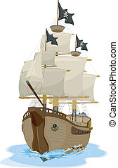 Pirate Ship 2 - Illustration of a Pirate Ship sailing on...