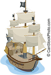 Pirate Ship - Illustration of Pirate Ship in two-point...