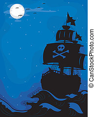 Pirate Ship at Night - Illustration of a Pirate Ship sailing...