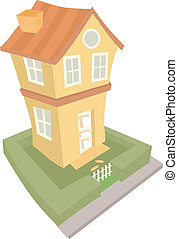 Two Storey House - Illustration of a Two Storey House viewed...