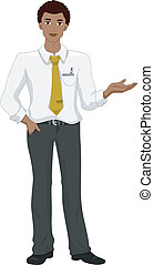 Black Man Presenting Something - Illustration of a Black Man...