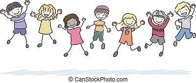 Jumping Stickman Kids - Illustration of Jumping Stickman...