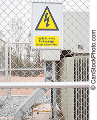 Warning sign, danger high voltage, safety concept
