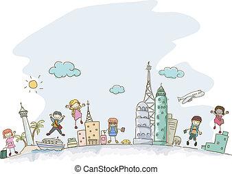 Travelling Stickman Kids - Illustration of Stickman Kids...