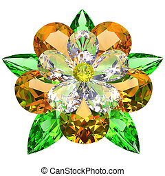 Flower composed of colored gemstones on white background....