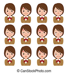 Expression of multiple schoolgirl