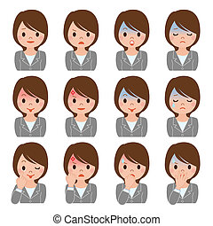 Businesswoman expression of multiple