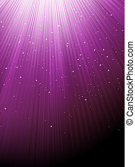 Snow and stars on purple luminous rays. EPS 8
