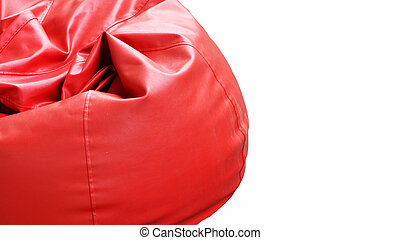 Bright Red leather Armchair isolated on white