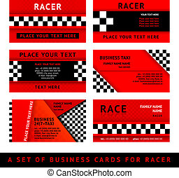 Business card driver race - third set, vector illustration...