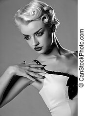 Retro monochrome portrait of young blond - Hollywood style...
