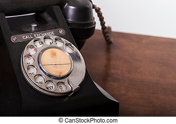 GPO 332 vintage telephone - close up of rotary dial -...
