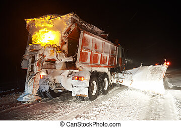 Winter road snow removal - Machinery with snowplough...