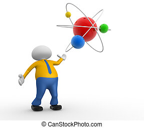 Atom - 3d people - man, person with a conceptual structure...