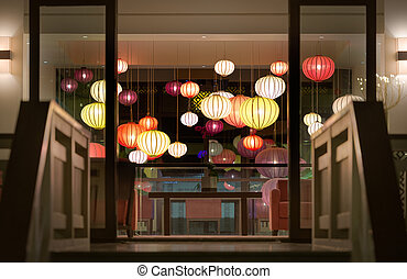 Hotel reception with lanterns in Vietnam, Asia. - Stairway...