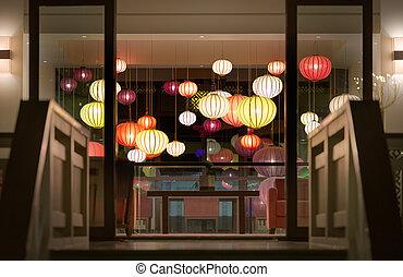 Hotel reception with lanterns in Vietnam, Asia - Stairway to...
