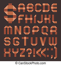 Font from brownish scotch tape - Roman alphabet (A, B, C, D,...