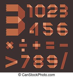 Font from brownish scotch tape - Arabic numerals (0, 1, 2,...