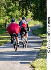 Bikers make a excursion on the bikeroad