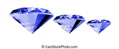 3d Sapphire Gem Isolated - A 3d illustration of a sapphire...