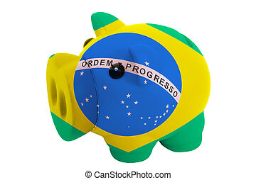 piggy rich bank in colors national flag of brazil for savings on white background
