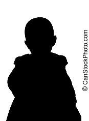 Little Girl Sihouette Illustration - A silhouette...