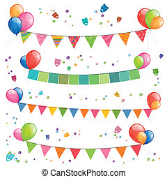 Vector Garlands - Vector Illustration of Colorful Garlands