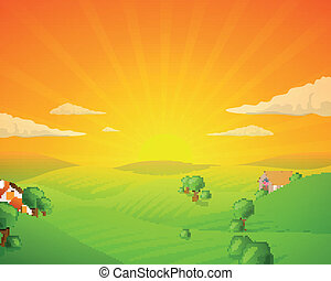 Vector Landscape with Fields and Hills