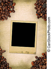 frame on coffee background - blank photo frame on coffee...