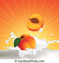 Vector Peaches falling into a Splash of Milk - Vector...