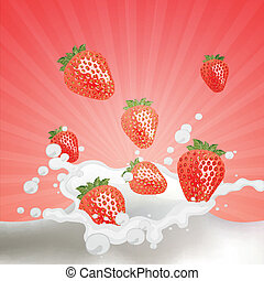 Vector trawberries falling into Milk