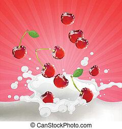 Vector Cherries falling into Milk