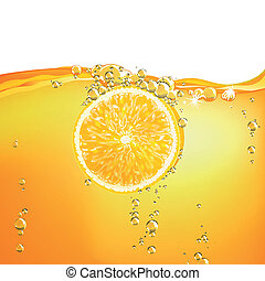 Vector Orange Fruit falling in liquid - Vector Illustration...